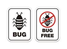 Insect en insecten vrije waakzame tekens Stock Afbeelding
