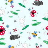 Insect in the flower garden seamless pattern, cute animal cartoon collection,dandelion grass abstract background vector vector illustration