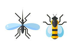 Insect fly and bee icon flat isolated on white background Royalty Free Stock Images