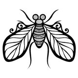 Insect fly. Vector Beautiful Fly, Exotic Insect. Patterned design, Tattoo vector illustration