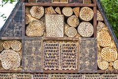 Insect hotel for brood care. And nature protection royalty free stock image