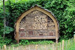 Insect hotel stock photography
