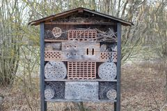 Insect hotel in the Nature in Frankenthal Germany stock image
