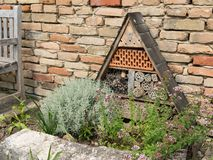 An insect hotel standing in front of a brick wall stock photo