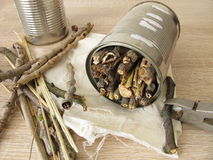 Insect hotel from tin cans, twigs and straw Stock Photo