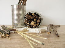 Insect hotel from tin cans, twigs and straw Stock Photography