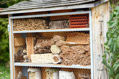 Insect hotel for wild solitary bees and other insects Stock Photography