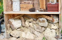 Insect hotel for wild solitary bees and other insects Royalty Free Stock Photos