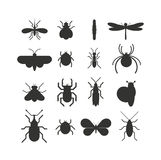 Insect icon black silhouette  flat set isolated on white background. Royalty Free Stock Images