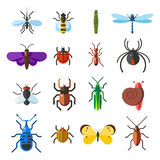 Insect icon flat set isolated on white background. Insects flat icons vector illustration. Nature flying insects isolated icons. Ladybird, butterfly, beetle Royalty Free Stock Images