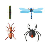 Insect icon flat set isolated on white background Stock Images