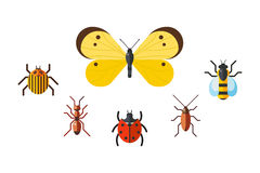 Insect icon flat set isolated on white background Stock Image