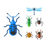 Insect icon flat set isolated on white background Royalty Free Stock Image