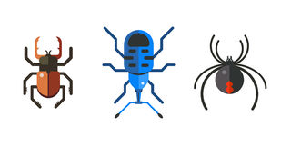 Insect icon flat set isolated on white background Royalty Free Stock Photos