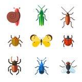 Insect icon flat set isolated on white background Royalty Free Stock Photo