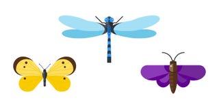 Insect icon flat set isolated on white background Royalty Free Stock Image