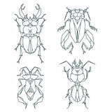 Insect icons, vector icon set. Abstract triangular style Royalty Free Stock Photo