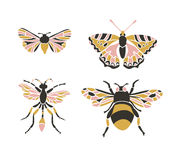 Insect icons, vector set.  Abstract triangular style. Royalty Free Stock Images