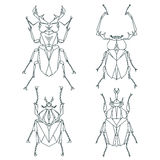 Insect icons, vector set. Abstract triangular style Royalty Free Stock Photography