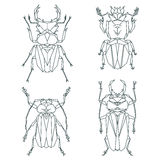 Insect icons, vector set. Abstract triangular style Royalty Free Stock Images