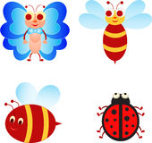 Insect Illustrations, Insect Cartoons. Insect cartoon illustrations, bee illustration, bee cartoons, flying bee, butterfly illustration, blue butte fly, ladybug Royalty Free Stock Images