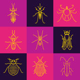 Insect line icon set Stock Photo