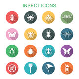 Insect long shadow icons Stock Images