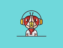 Insect mascot. Fly. Headphones character Royalty Free Stock Images