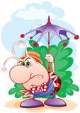 Insect met een paraplu Royalty-vrije Stock Afbeelding
