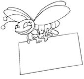 Insect and poster. Insect with a poster in line art royalty free illustration
