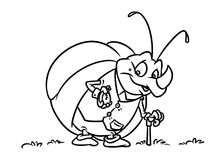 Insect Rhinoceros beetle clock coloring pages Stock Image