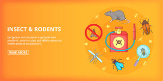 Insect rodents banner horizontal, cartoon style Royalty Free Stock Photos