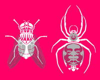 Insect silhouettes. Silhouettes of two insects or bugs. Pink background Vector Illustration