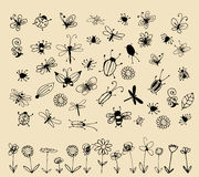Insect sketch collection for your design stock illustration