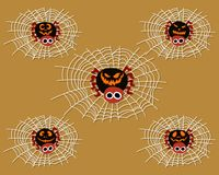 Set of Halloween Spiders on Web stock illustration