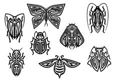Insect tattoos in tribal style Royalty Free Stock Image