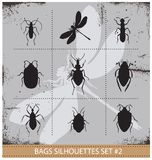Insect silhouettes sign set black color Stock Image