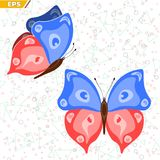 Insect with wings floating butterfly life is flying. Flying insect butterfly with different elements wings color Stock Image
