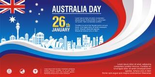 Insecte élégant, avec le style de drapeau de l'Australie et la conception de vague illustration stock