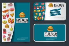 Insecte d'aliments de préparation rapide et bannière ou ensemble de carte de visite professionnelle de visite Calibre d'affiche p Images stock