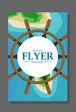 Insecte dans le style plat avec une carte de l'île à voyager et vacation sur le yacht Vecteur Photos libres de droits