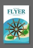 Insecte dans le style plat avec une carte de l'île à voyager et vacation sur le yacht Vecteur Images libres de droits