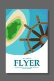 Insecte dans le style plat avec une carte de l'île à voyager et vacation sur le yacht Vecteur Image libre de droits
