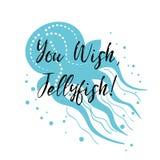 Insecte de mer avec la citation inspirée, méduse Affiche typographique de voyage de vecteur signe d'été, expression, label Images libres de droits