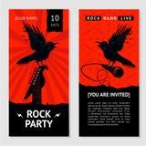 Insecte de musique rock Invitation de concert avec l'oiseau Photos stock