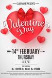 Insecte de partie de jour du ` s de Valentine coeur 3D avec l'arc sur un fond clair Composition romantique Affiche de fête de Web illustration libre de droits