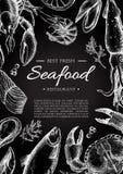 Insecte de restaurant de fruits de mer de vintage de vecteur Photos libres de droits