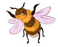 Insecte de vol drôle de caractère de bourdon Image stock