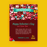 Insecte heureux de bannière de Valentine Day Holiday Vector Template moderne Illustration Stock