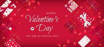 Insecte heureux de Saint-Valentin, fond horizontal de bannière de Web avec des lucettes, guirlandes, serpentine, boîte-cadeau en  illustration de vecteur
